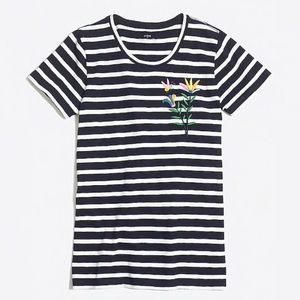 J. Crew Bumble Striped Embroidered Collectors Tee